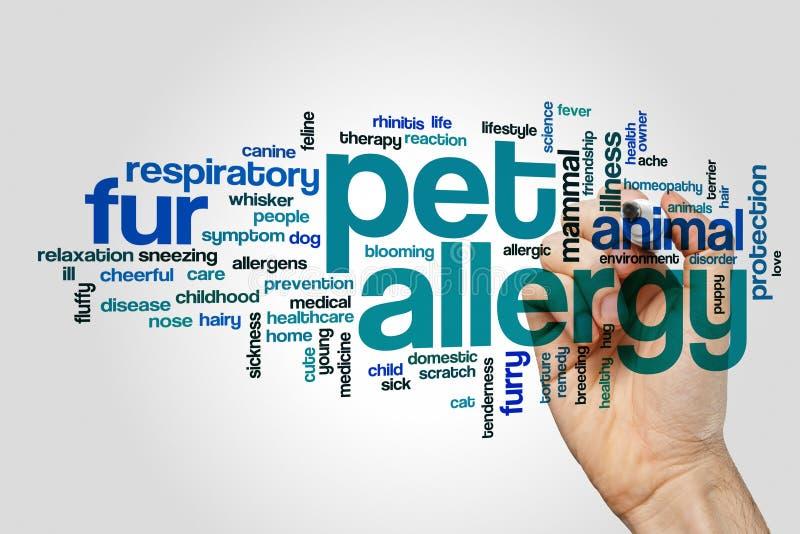 Nuvem da palavra da alergia do animal de estimação foto de stock
