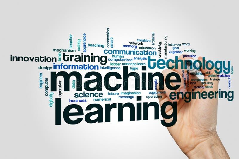 Nuvem da palavra da aprendizagem de máquina imagem de stock