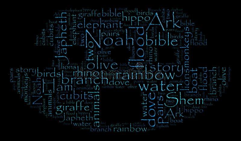 Nuvem da palavra da arca de Noah ilustração royalty free