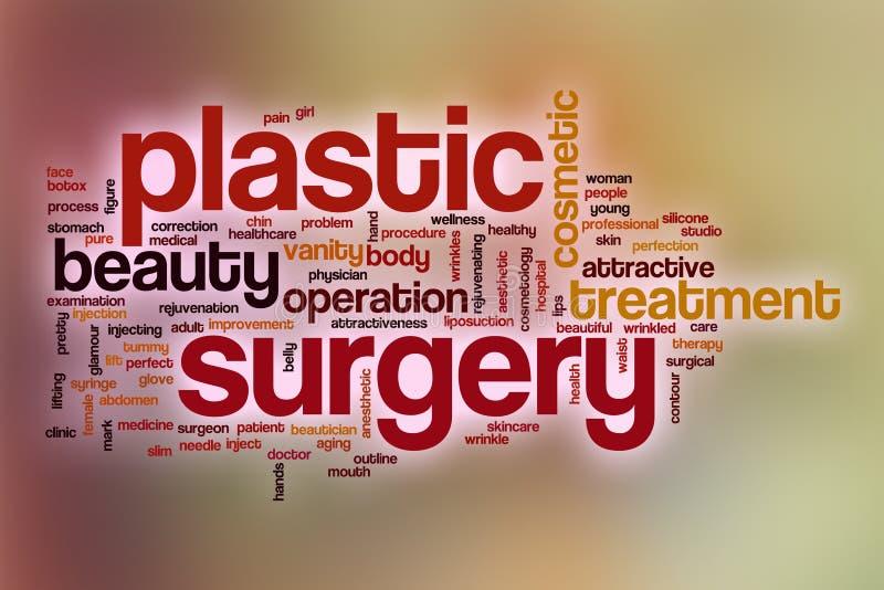 Nuvem da palavra da cirurgia plástica com fundo abstrato ilustração royalty free