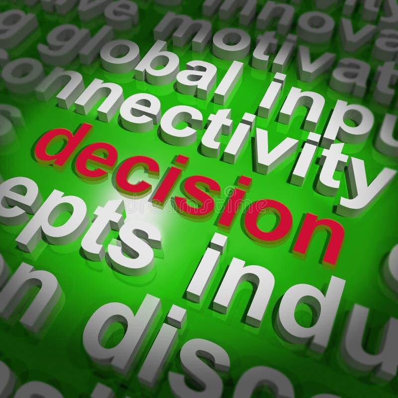 A nuvem da palavra da decisão mostra a escolha ou decide-a ilustração stock