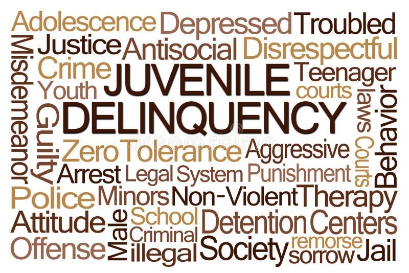 Nuvem da palavra da delinquência juvenil ilustração royalty free