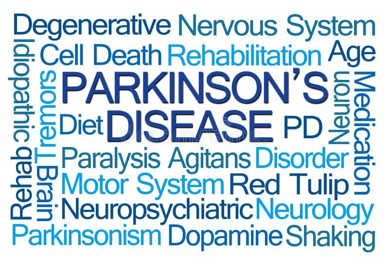 Nuvem da palavra da doença de Parkinson fotos de stock