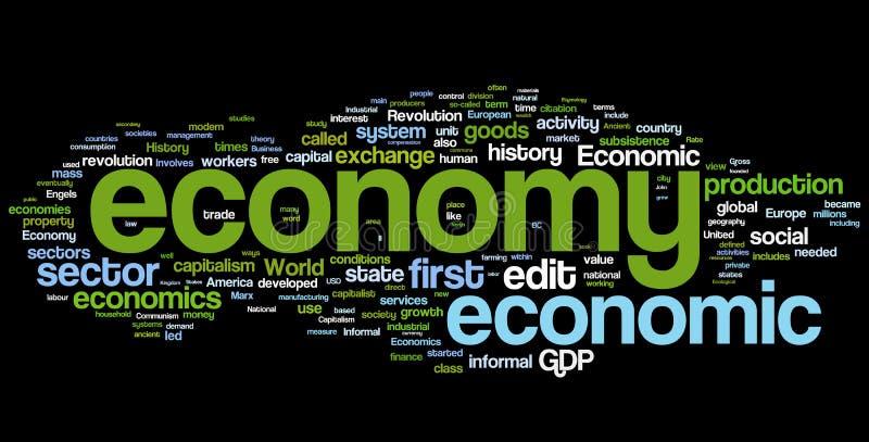 Nuvem da palavra da economia ilustração royalty free