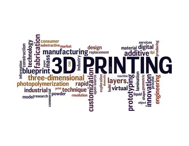 nuvem da palavra da impressão 3d ilustração stock