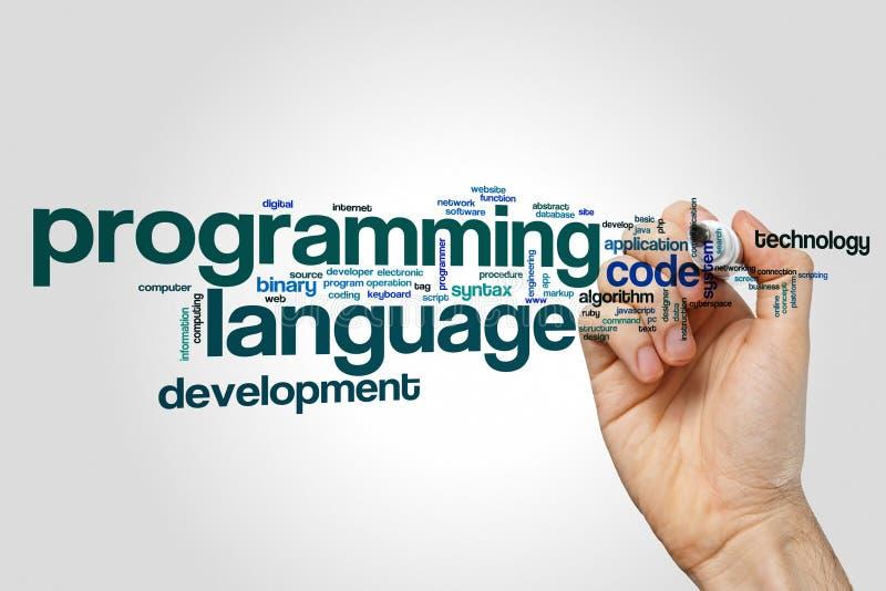 Nuvem da palavra da linguagem de programação imagens de stock