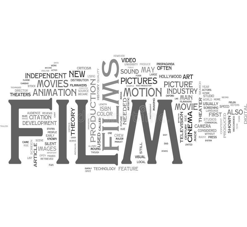 Nuvem da palavra da película ilustração royalty free