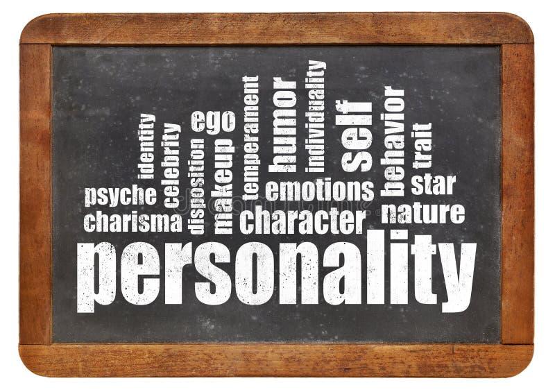 Nuvem da palavra da personalidade no quadro-negro imagem de stock