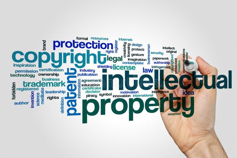 Nuvem da palavra da propriedade intelectual fotografia de stock