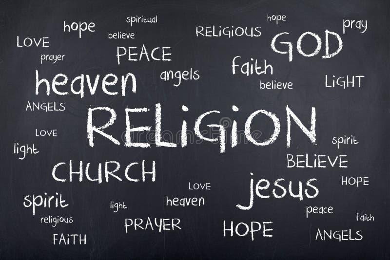 Nuvem da palavra da religião no quadro ilustração do vetor