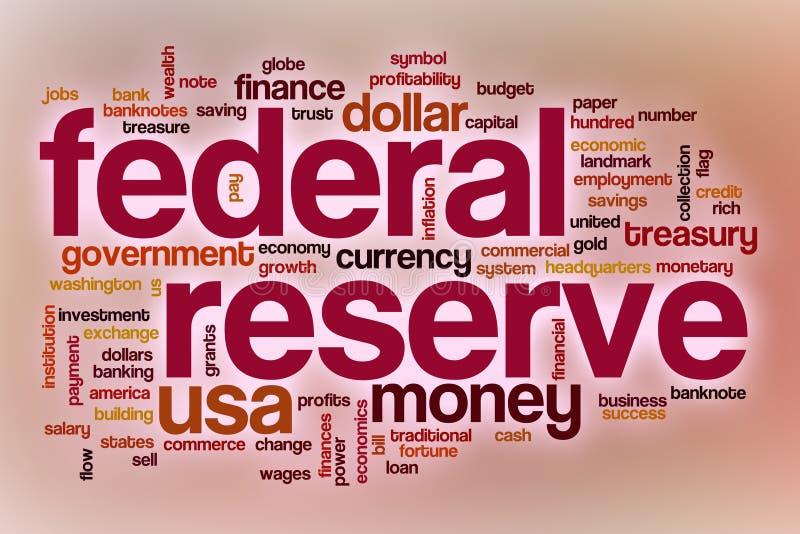 Nuvem da palavra da reserva federal com fundo abstrato ilustração stock