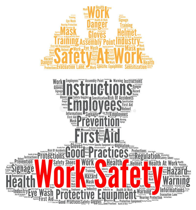 Nuvem da palavra da segurança do trabalho ilustração do vetor