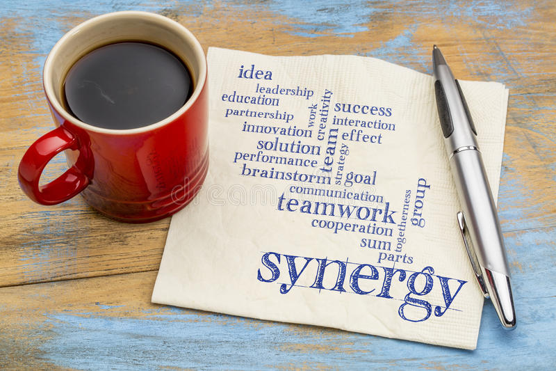 Nuvem da palavra da sinergia no guardanapo com café imagens de stock royalty free
