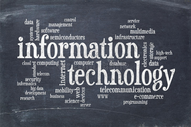 Nuvem da palavra da tecnologia da informação fotografia de stock