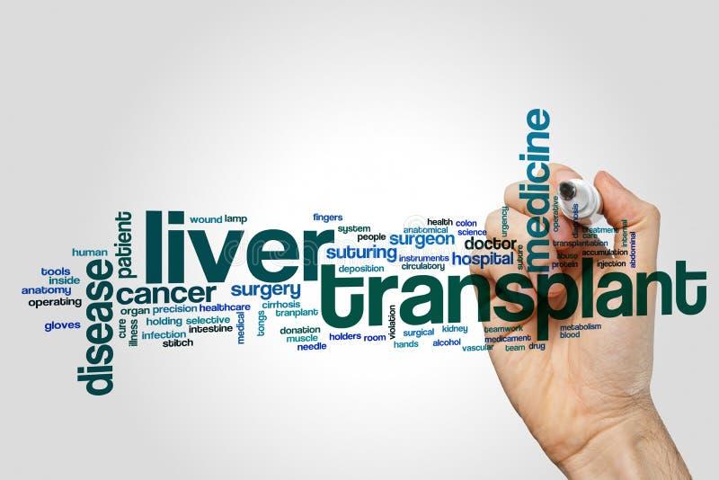 Nuvem da palavra da transplantação do fígado imagem de stock royalty free