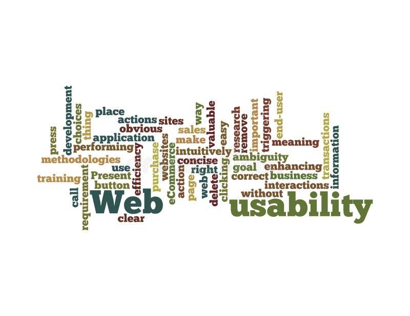 Nuvem da palavra da usabilidade do Web isolada imagens de stock royalty free