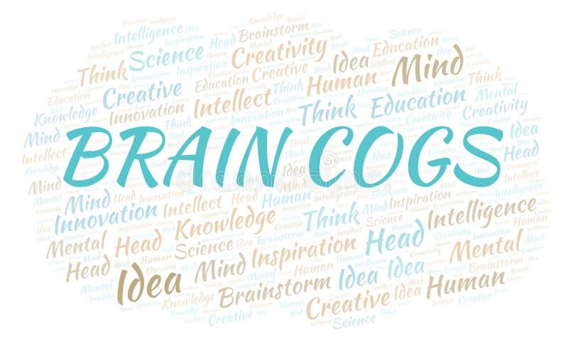 Nuvem da palavra de Brain Cogs ilustração royalty free