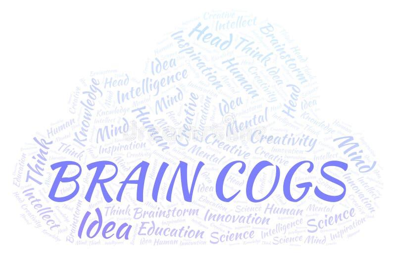 Nuvem da palavra de Brain Cogs ilustração stock
