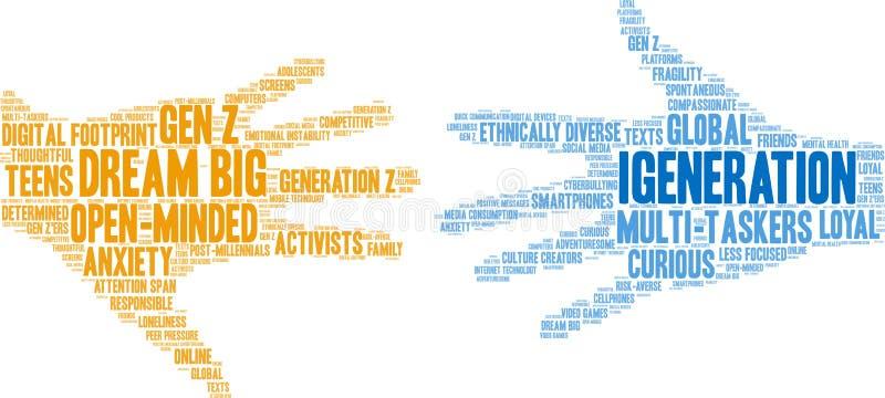Nuvem da palavra de IGeneration ilustração royalty free