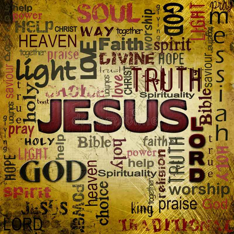 Nuvem da palavra de Jesus, fundo do grunge ilustração royalty free