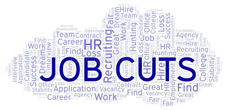 Nuvem da palavra de Job Cuts ilustração do vetor