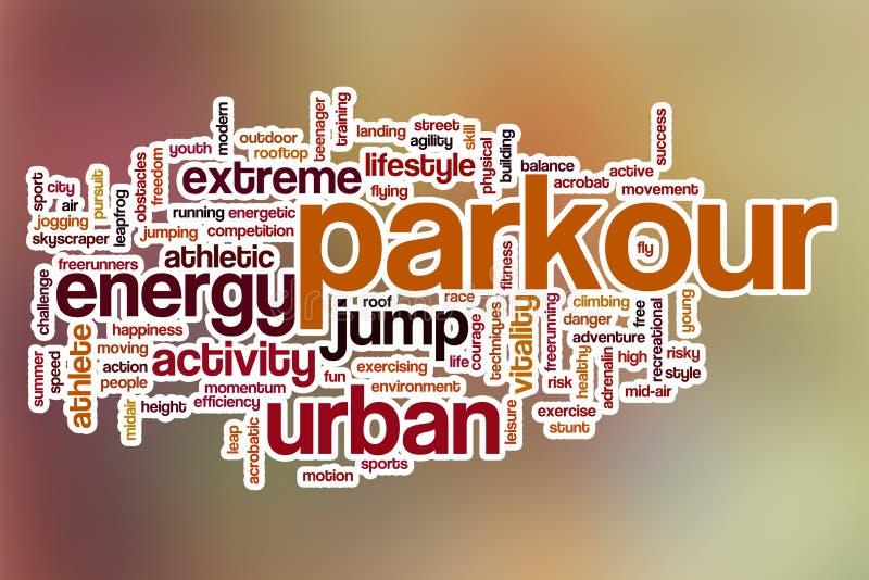 Nuvem da palavra de Parkour com fundo abstrato imagens de stock royalty free