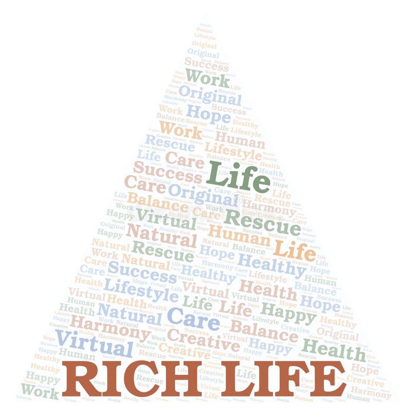 Nuvem da palavra de Rich Life ilustração stock