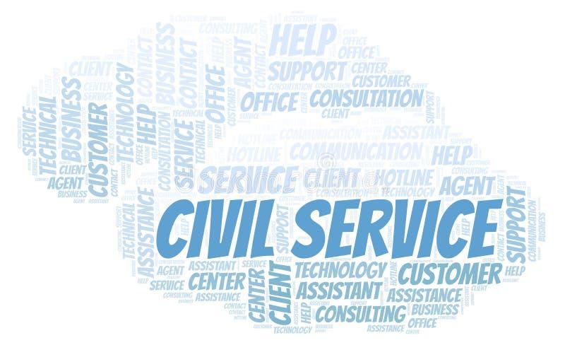 Nuvem da palavra de serviço civil ilustração stock