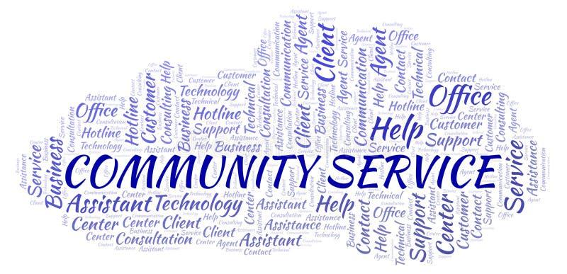 Nuvem da palavra de serviço comunitário ilustração royalty free