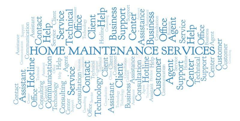 Nuvem da palavra de serviços da manutenção da casa ilustração do vetor
