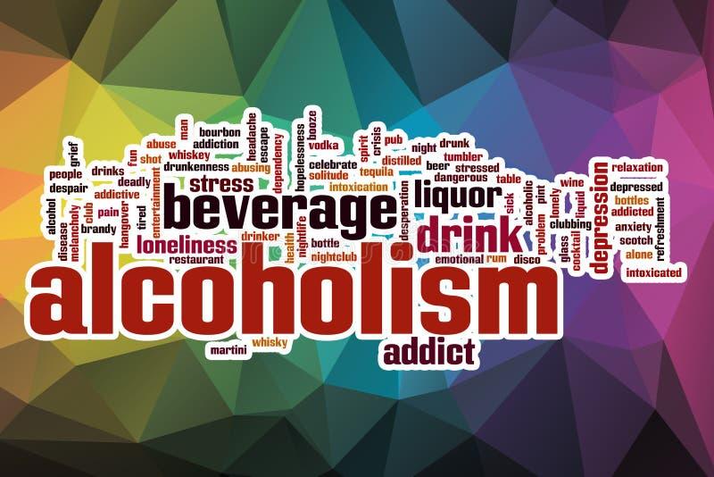 Nuvem da palavra do alcoolismo com fundo abstrato ilustração royalty free
