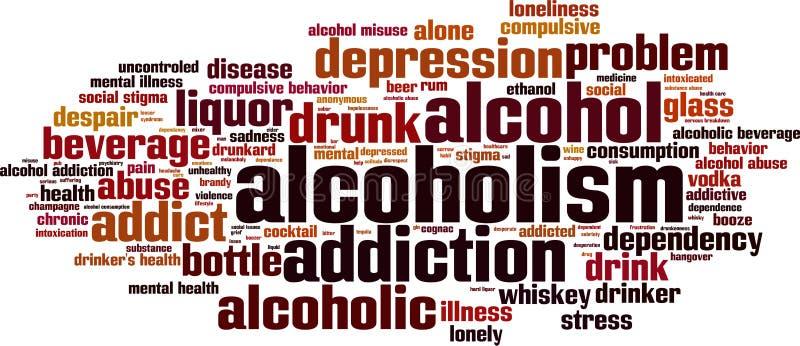 Nuvem da palavra do alcoolismo ilustração stock