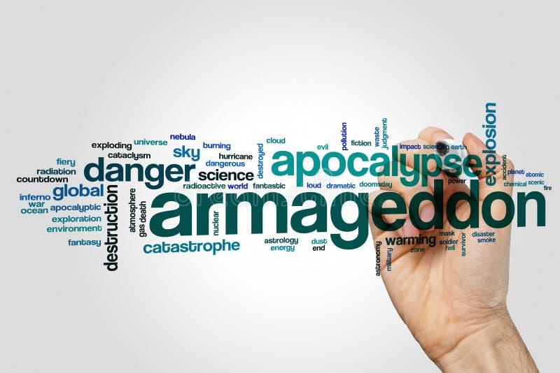 Nuvem da palavra do Armageddon imagens de stock