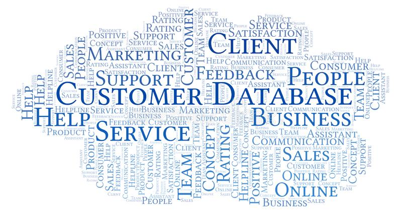 Nuvem da palavra do base de dados do cliente ilustração royalty free
