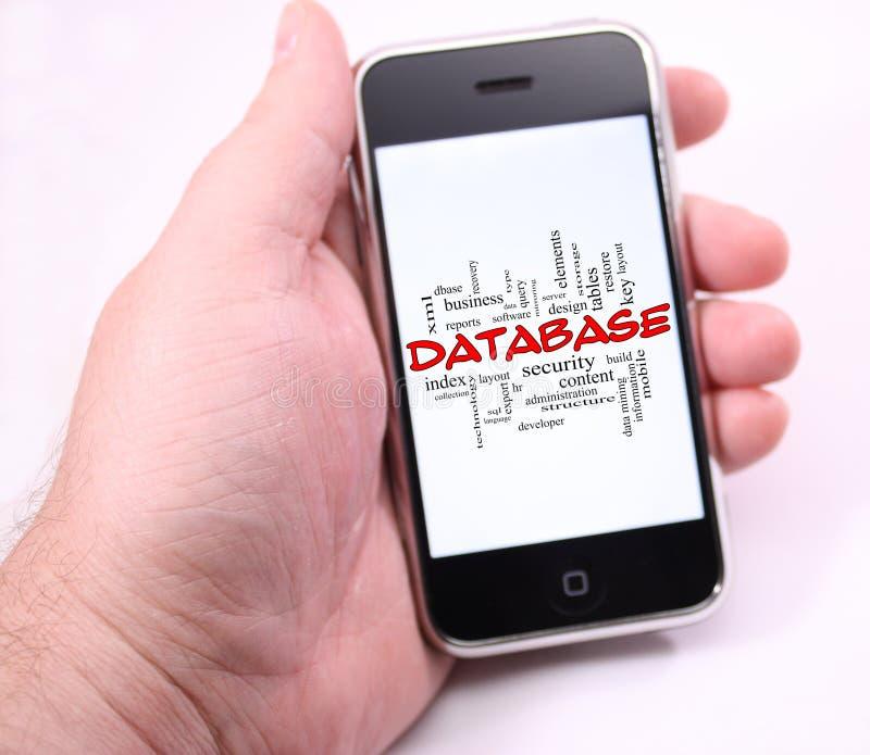 Nuvem da palavra do base de dados disponível que guarda o telefone de tela táctil moderno ilustração royalty free