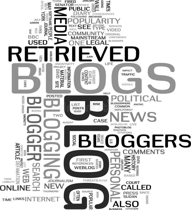 Nuvem da palavra do blogue ilustração royalty free