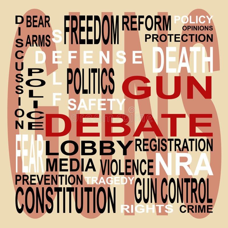 Nuvem da palavra do debate da arma ilustração royalty free