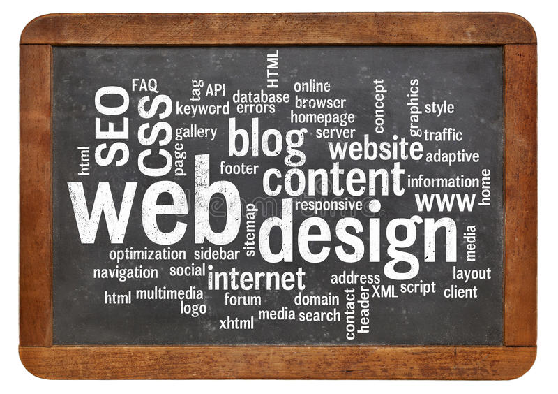 Nuvem da palavra do design web no quadro-negro foto de stock royalty free