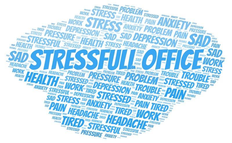 Nuvem da palavra do escritório de Stressfull imagens de stock