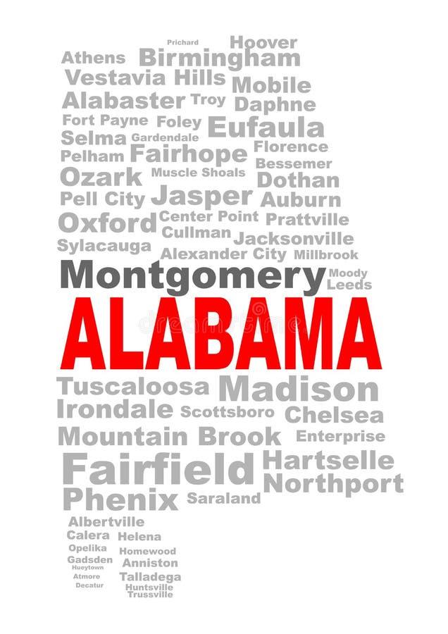 Nuvem da palavra do estado de Alabama ilustração royalty free