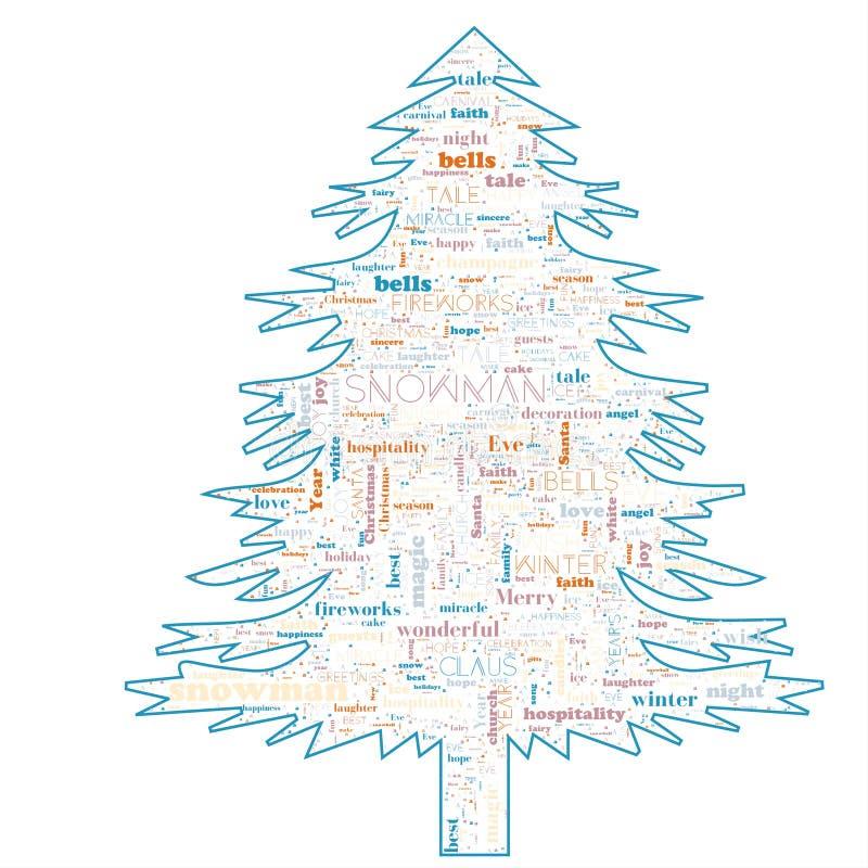 Nuvem da palavra do Feliz Natal na forma da árvore foto de stock royalty free