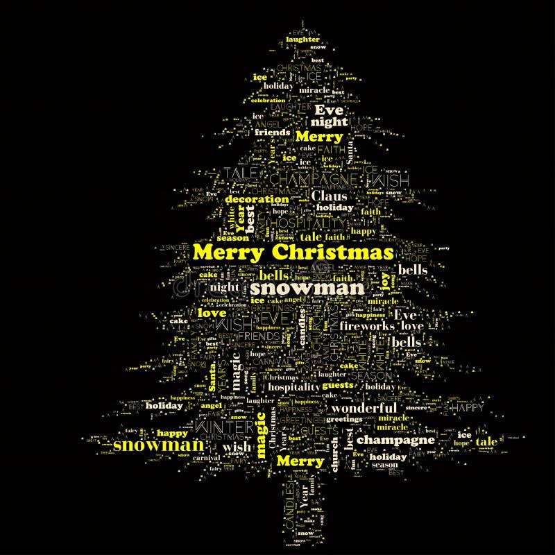 Nuvem da palavra do Feliz Natal na forma da árvore fotos de stock