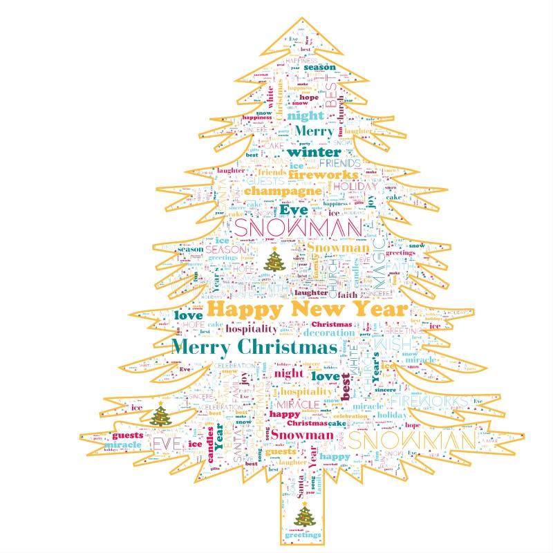 Nuvem da palavra do Feliz Natal na forma da árvore fotografia de stock royalty free