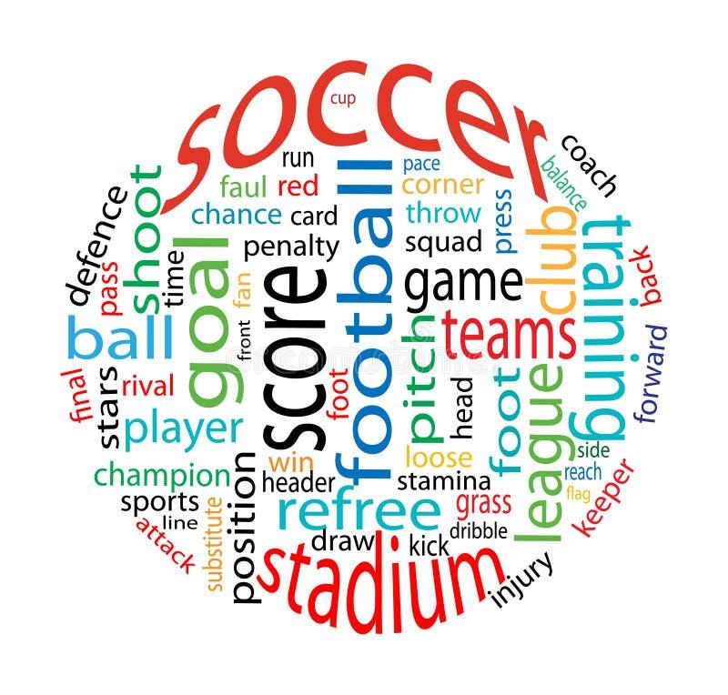 Nuvem da palavra do futebol ilustração stock