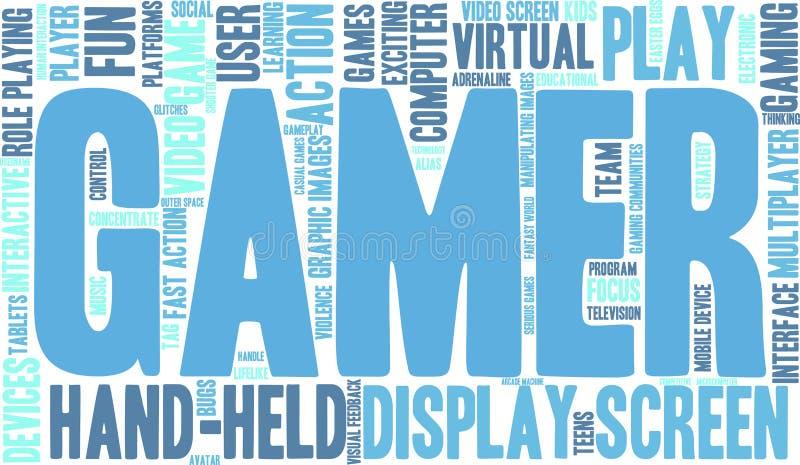Nuvem da palavra do Gamer ilustração stock