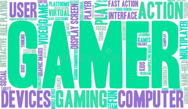 Nuvem da palavra do Gamer ilustração do vetor