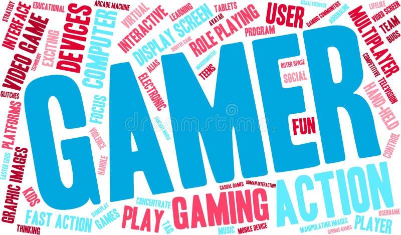 Nuvem da palavra do Gamer ilustração royalty free