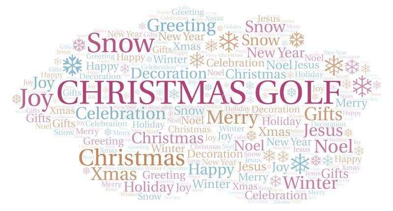 Nuvem da palavra do golfe do Natal ilustração do vetor