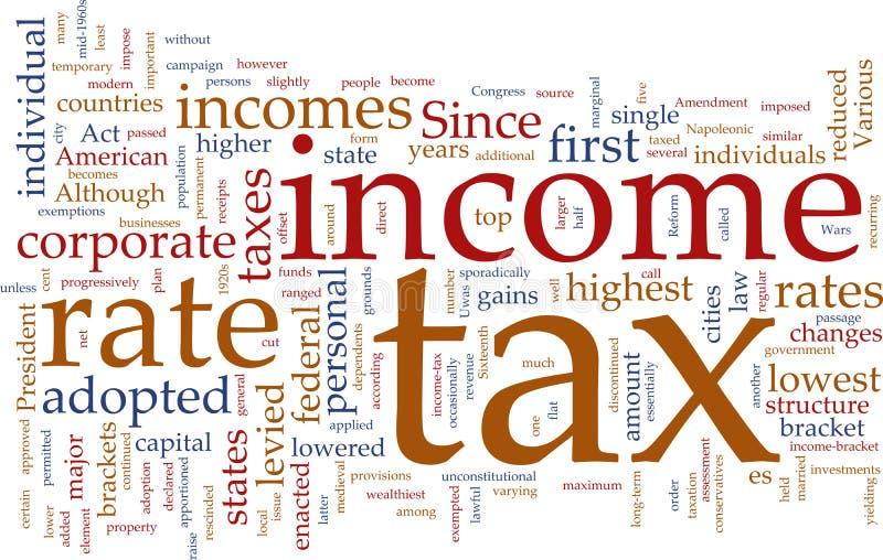 Nuvem da palavra do imposto de renda ilustração royalty free