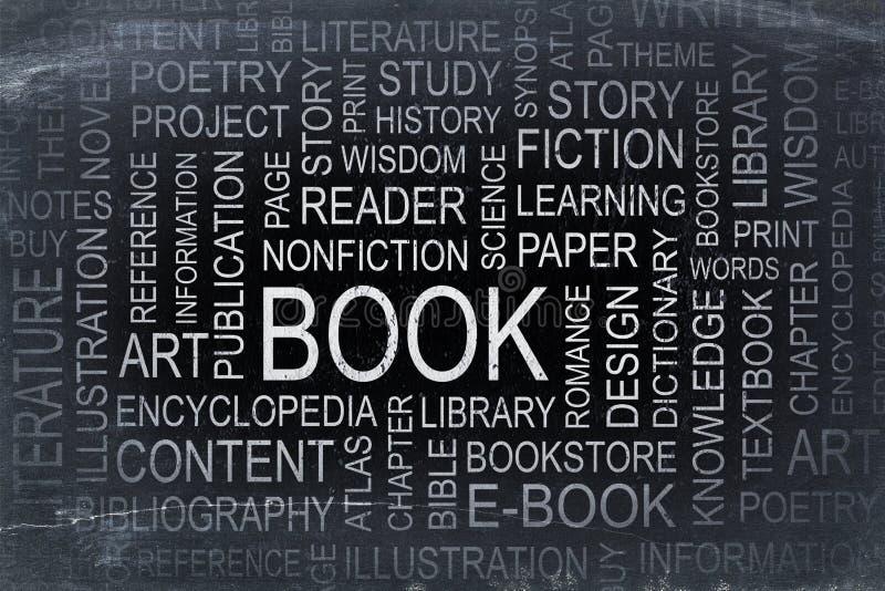 Nuvem da palavra do livro em um quadro-negro da ardósia foto de stock